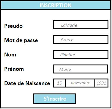 page d'inscription